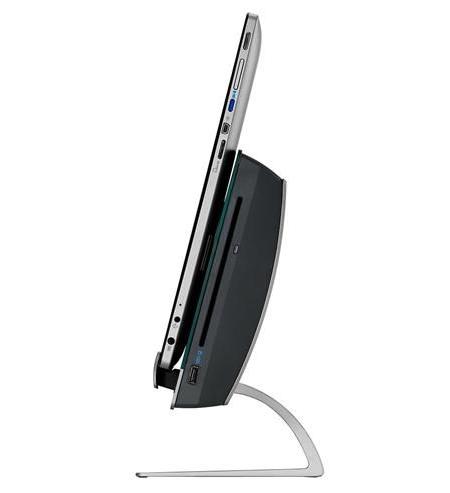 Parte lateral derecha de la tablet junto a la estación de trabajo